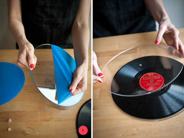 Step Two You will be attaching one of the pieces of acrylic to its base permanently so you\u0027ll need to glue the bigger half of the screw to the piece of ... & DIY Vintage Record Cake Plates