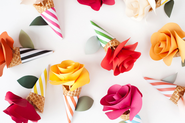 Diy paper flower cone bouquets now thats my type of treat these paper flower ice cream cone bouquets would be perfect for birthday parties a good cheer up or just the floralice mightylinksfo