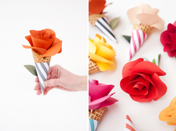 Diy paper flower cone bouquets glue gun cutting board scissors skewers about 3 4 long garden pot 2 in diamteroptional to be used as stand bright colored paper for flowers mightylinksfo