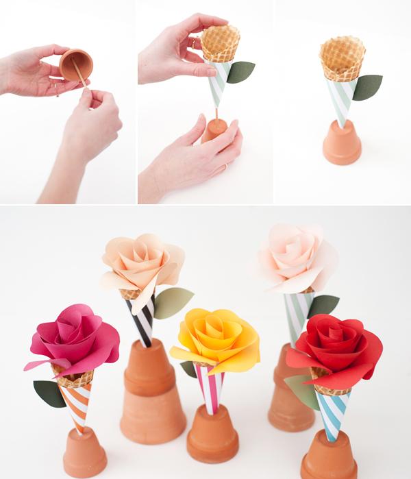 DIY Paper Flower Cone Bouquets