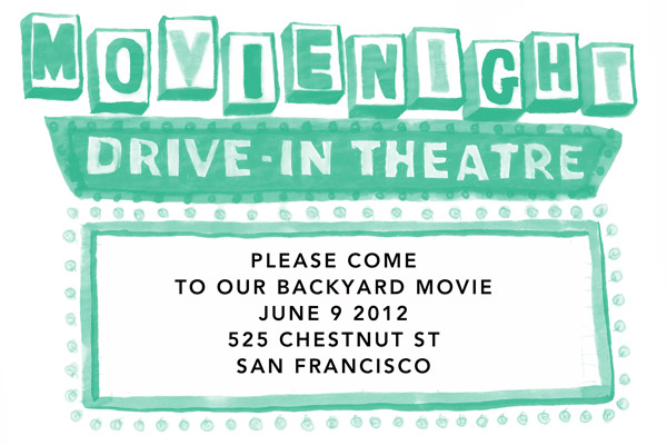 backyard movie night invitations