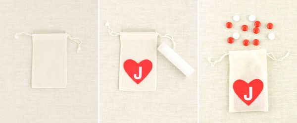 Personalized Felt Heart Muslin Bag DIY | Oh Happy Day!