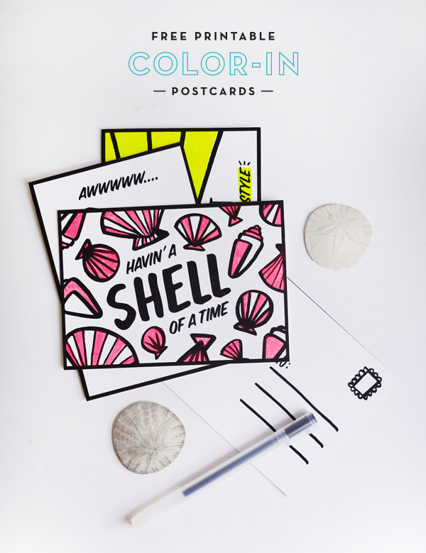 Printable Summer Color-in Postcards | Oh Happy Day!