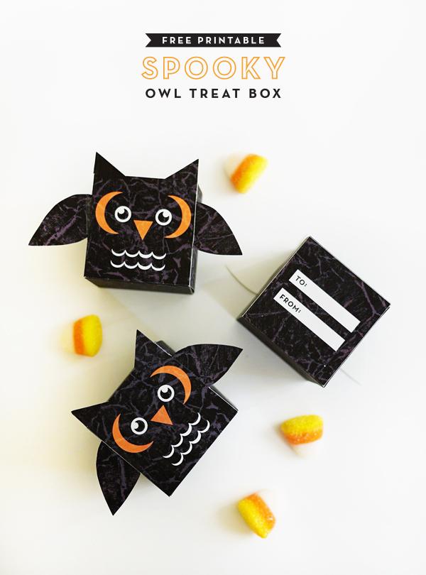 Printable Spooky Owl Treat Box | Oh Happy Day!