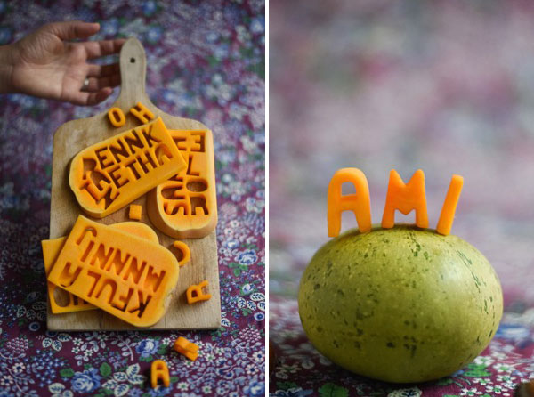 Butternut Squash Letters Name Cards DIY | Oh Happy Day!