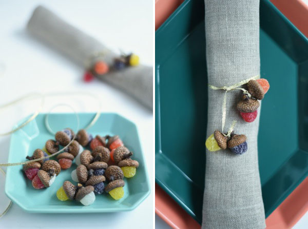 Gumdrop Acorn Napkin Rings DIY | Oh Happy Day!