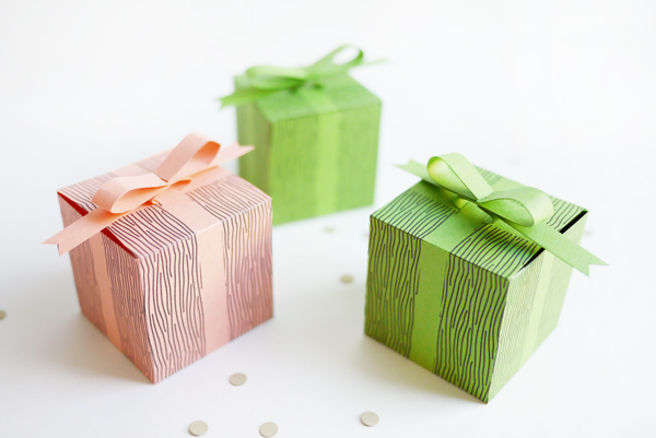 Printable Faux Bow Gift Boxes