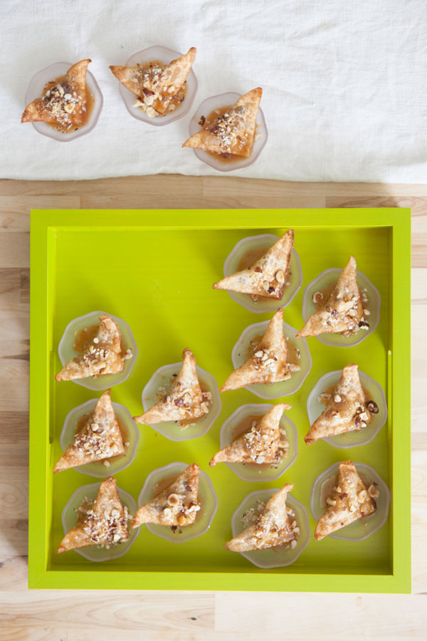 Chocolate Hazelnut Wontons with Caramel Recipe | Oh Happy Day!