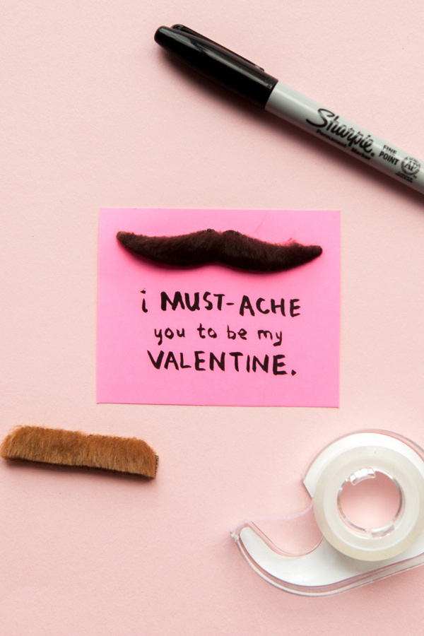 Mustache Valentine | 14 Awesome Candy-Free Valentines | Oh Happy Day