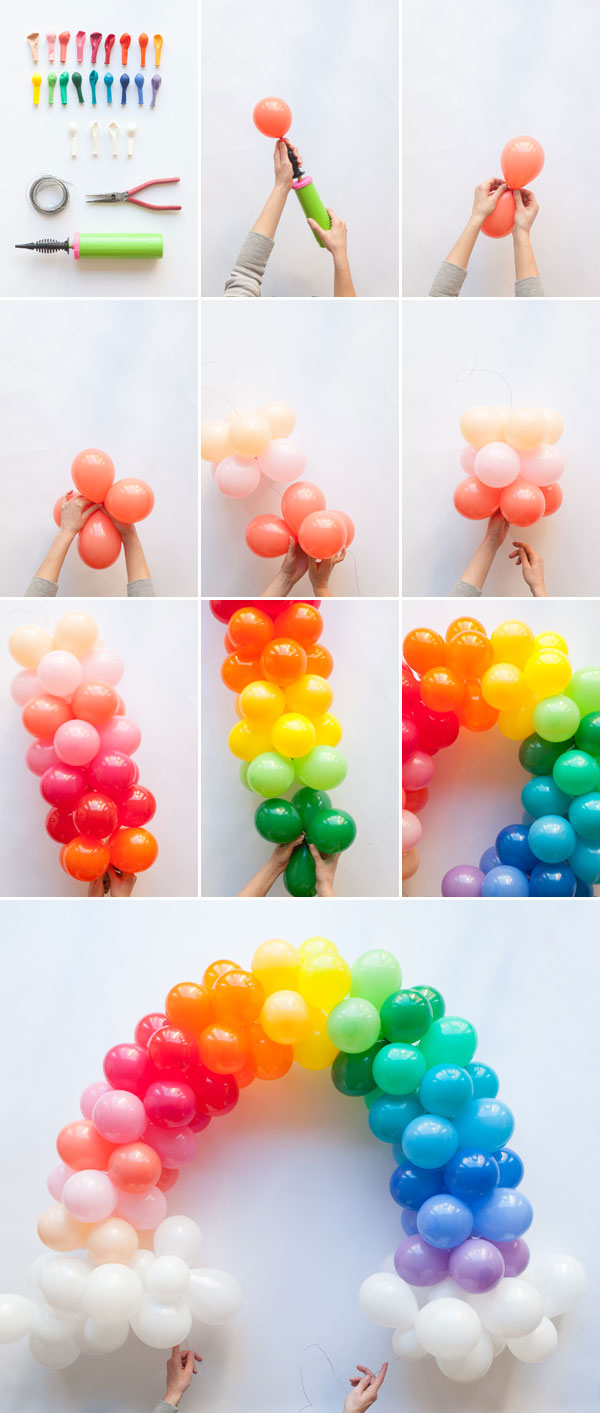 Mini rainbow balloon arch diy for Balloon decoration ideas diy