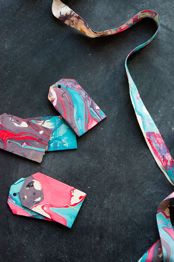 DIY Marbleized Ribbon | Oh Happy Day!