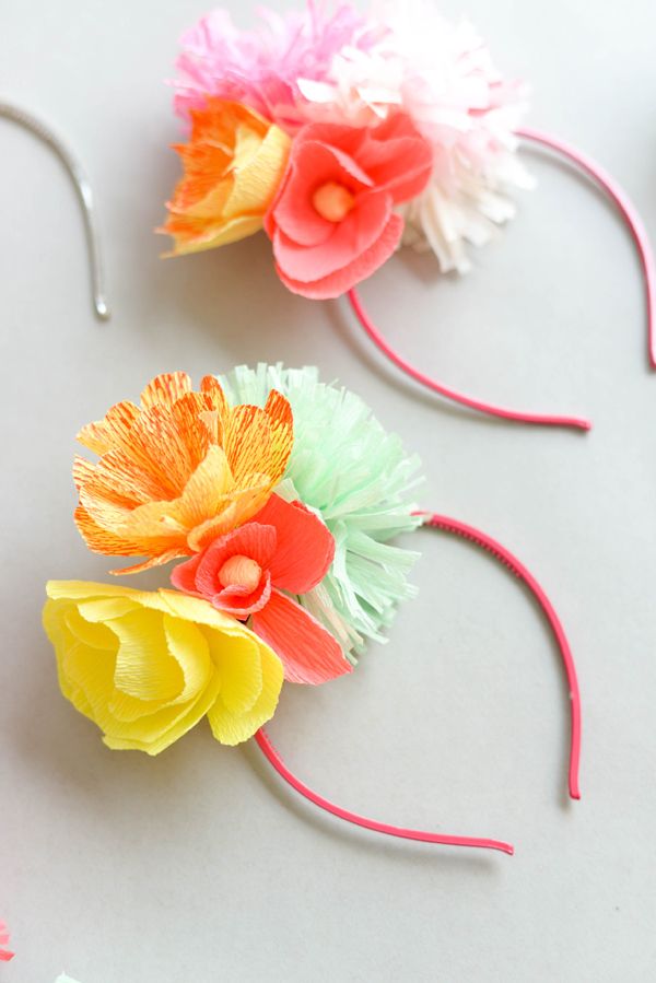 Paper flower headband diy materials crepe paper tissue paper scissors floral wire mightylinksfo