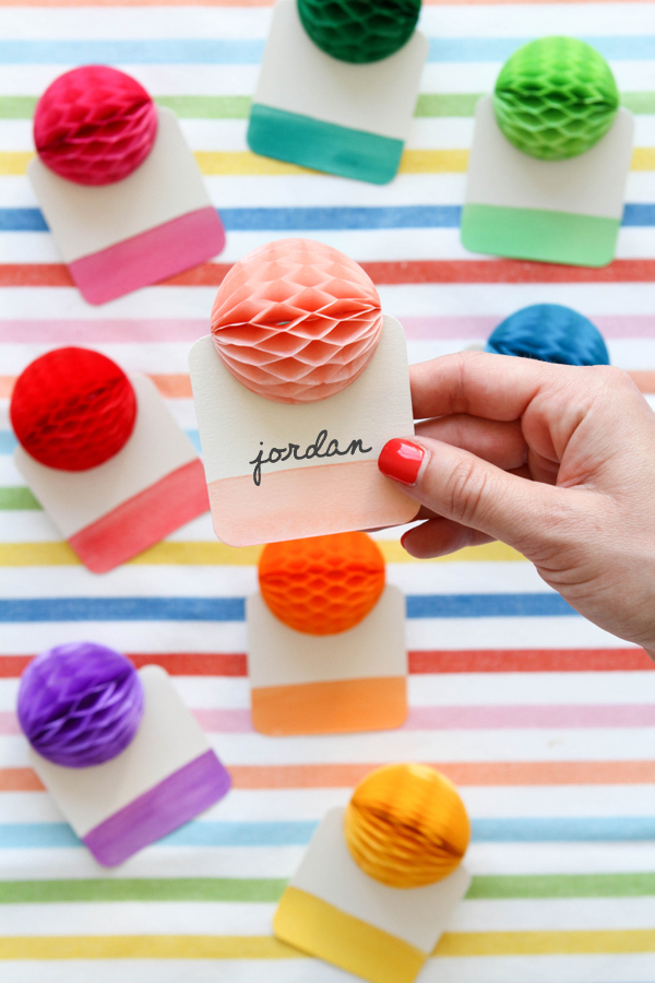 Rainbow Honeycomb Place Cards | Oh Happy Day!