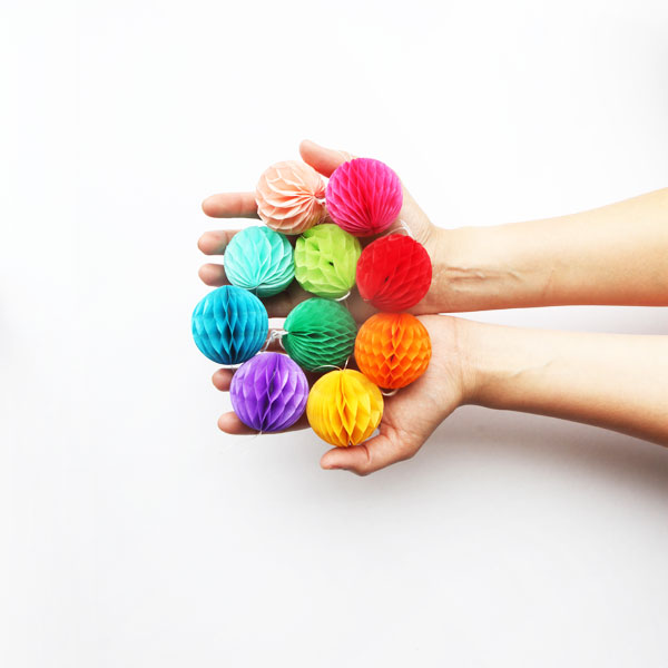 Rainbow Mini Honeycomb Balls | Oh Happy Day!