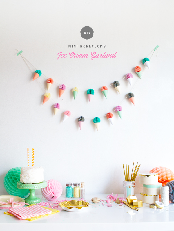 Diy mini honeycomb ice cream garland for B day decoration ideas