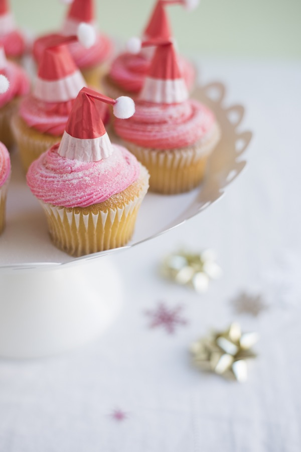 Santa Hat Cupcake Toppers DIY | Oh Happy Day!
