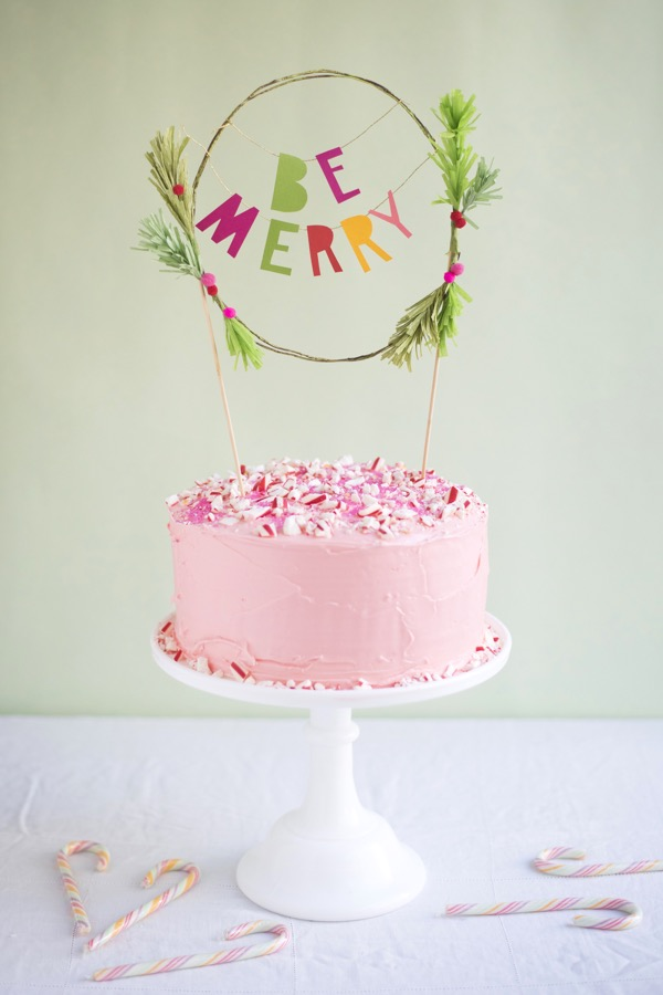 Be Merry Holiday Cake Topper DIY | Oh Happy Day!