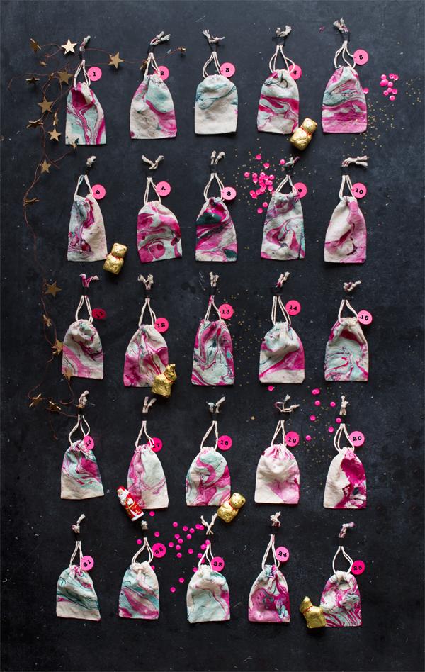 DIY Marbled Bag Advent Calendar | Oh Happy Day!