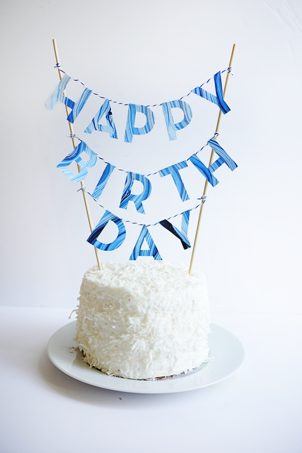 Printable Marbled Birthday Cake Topper