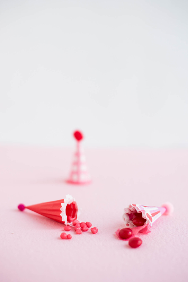 Mini Party Hat Valentine's Favors DIY | Oh Happy Day!