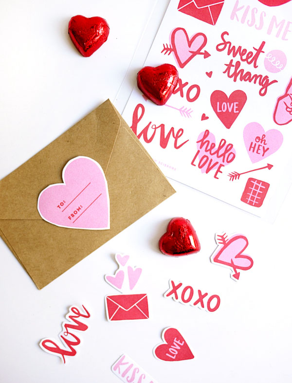 Printable Valentine Stickers | Oh Happy Day!