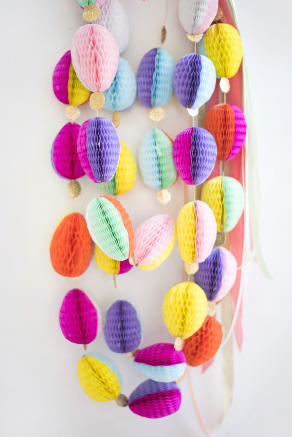 Honeycomb Easter Egg Garland DIY | Oh Happy Day!