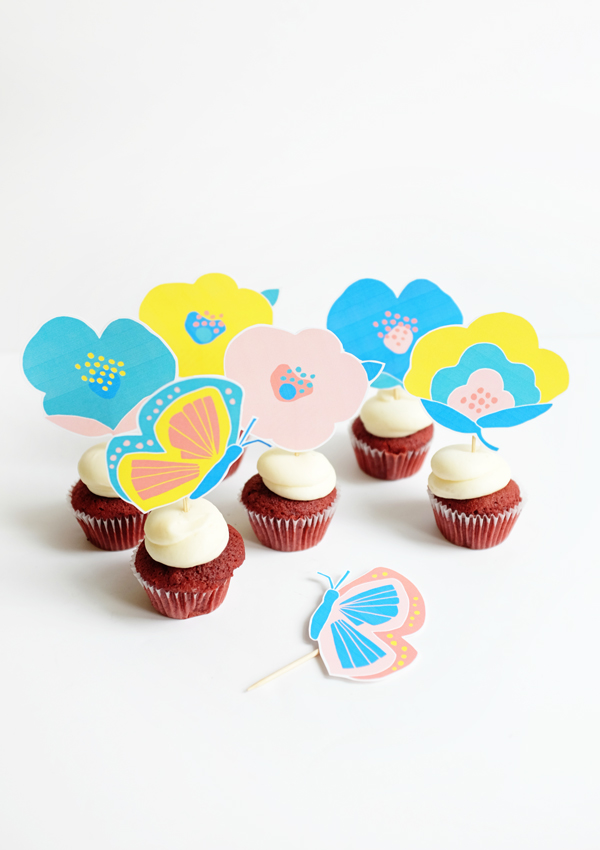 Printable Floral Cupcake Picks | Oh Happy Day!