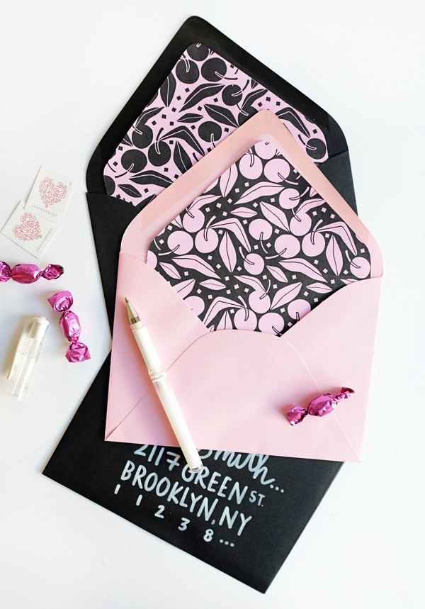 Printable Cherry Envelope Liners | Oh Happy Day!