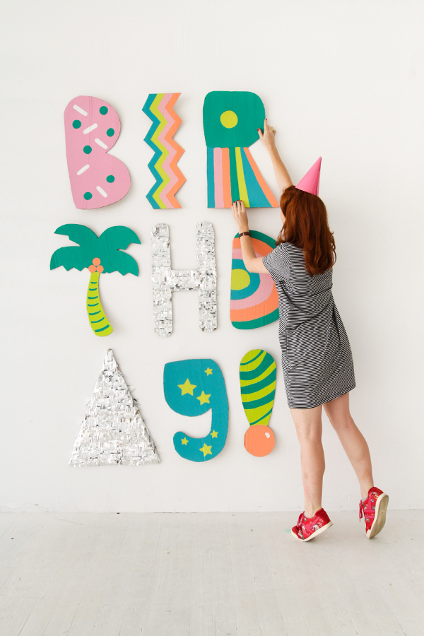 Giant Cardboard Letter Installation | Oh Happy Day!