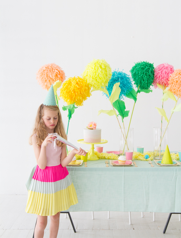 DIY Pom Pom Flower Party Sticks | Oh Happy Day!