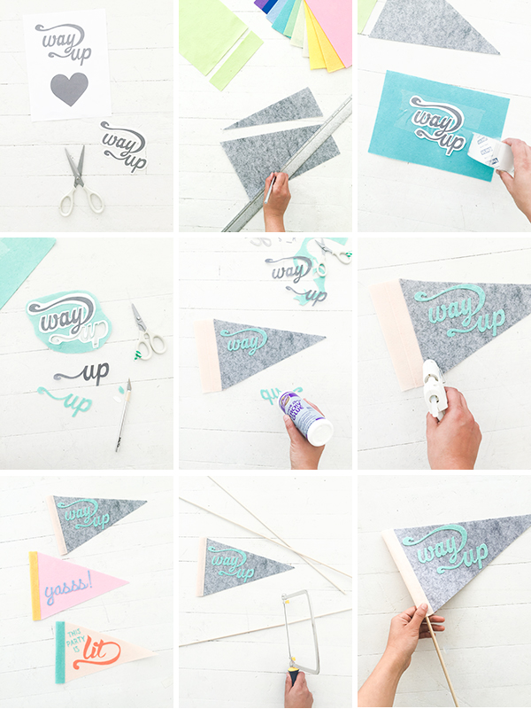 DIY Hand Lettered Felt Flags | Oh Happy Day!