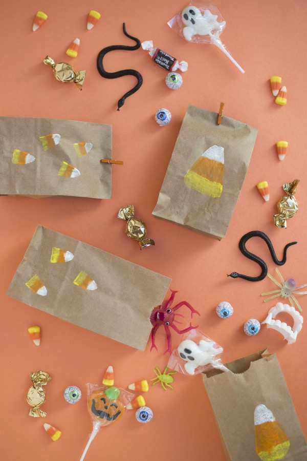 Candy Corn Potato Stamp Treat Bags DIY | Oh Happy Day!