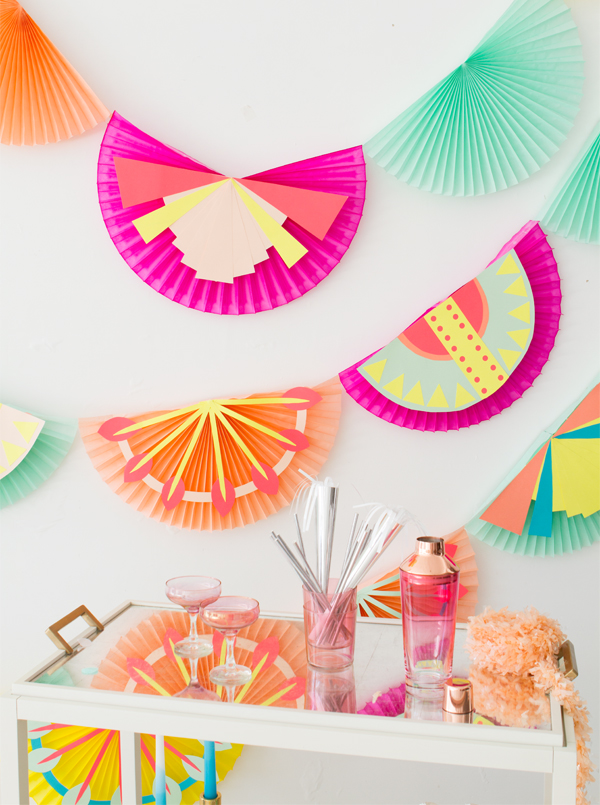 Decorated Fan Garland DIY | Oh Happy Day!