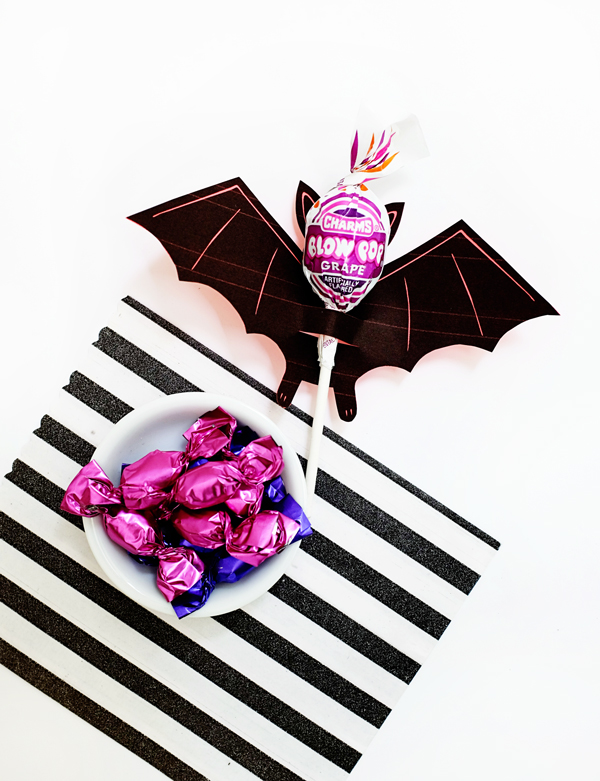 photo relating to Printable Bat referred to as Printable Bat Lollipop Holder