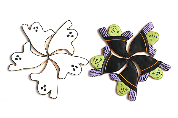Halloween Ghost and Witch Face Cookies | Oh Happy Day!