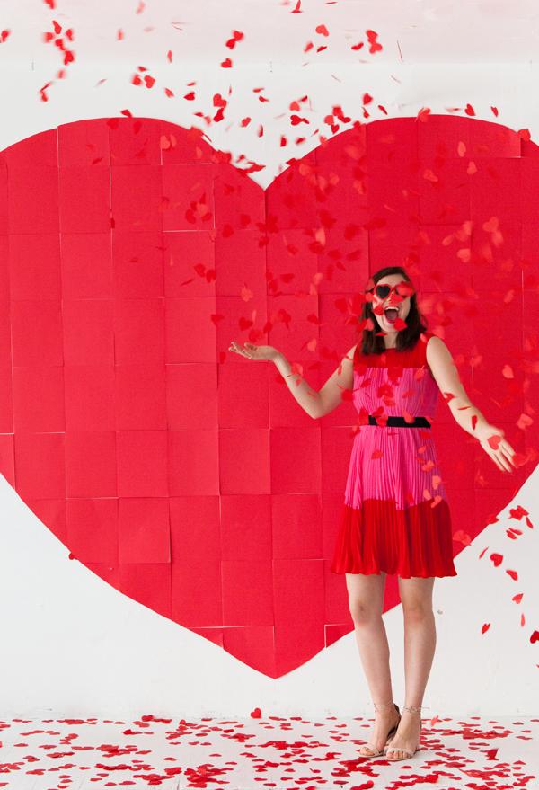 giant paper heart backdrop
