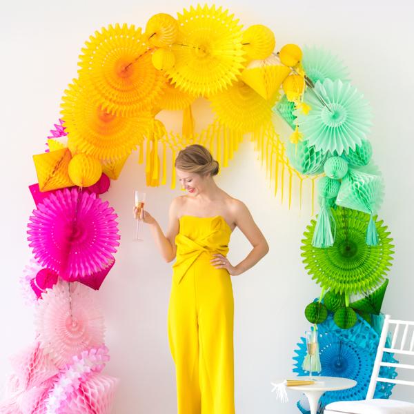 Rainbow Honeycomb Arch | Oh Happy Day!