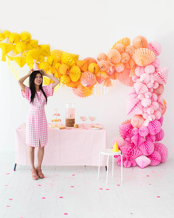 Ombre Honeycomb Waterfall Arch | Oh Happy Day!