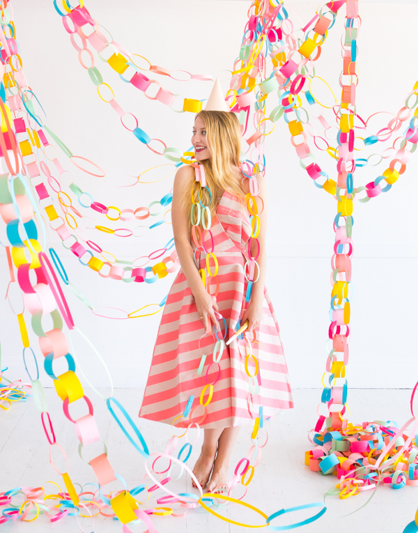 Rainbow Paper Chain Garland