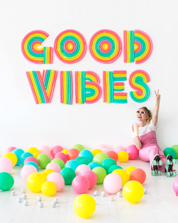 Rainbow Lettering Balloon Wall | Oh Happy Day!
