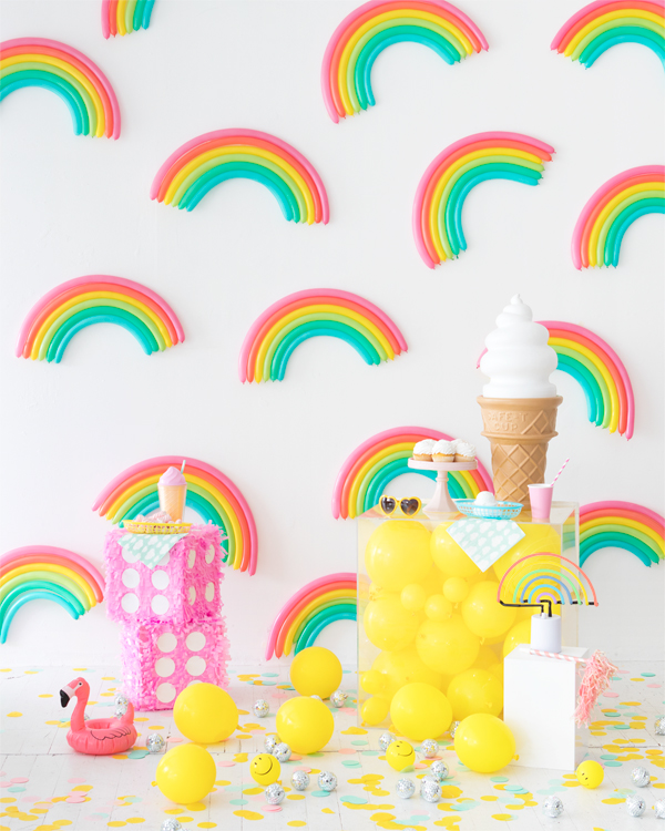 DIY Rainbow Pattern Balloon Backdrop | Oh Happy Day!