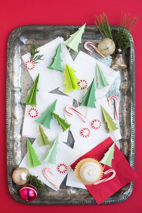 Evergreen Tree Cupcake Toppers   Oh Happy Day!