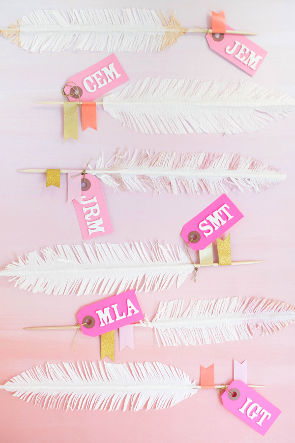 Feather Place Cards DIY