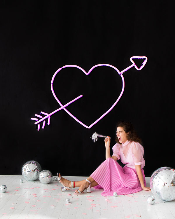 Neon Heart Balloon Wall