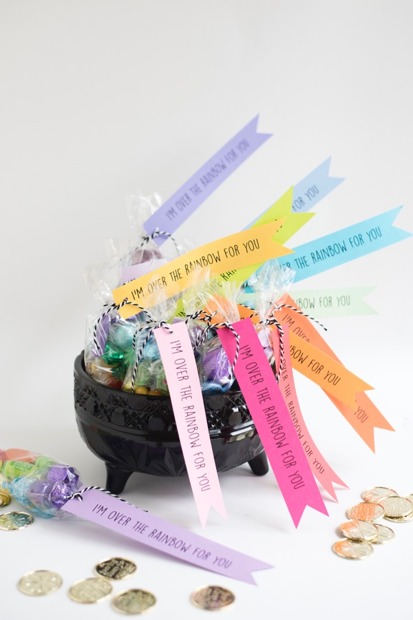 rainbow candy favor bags
