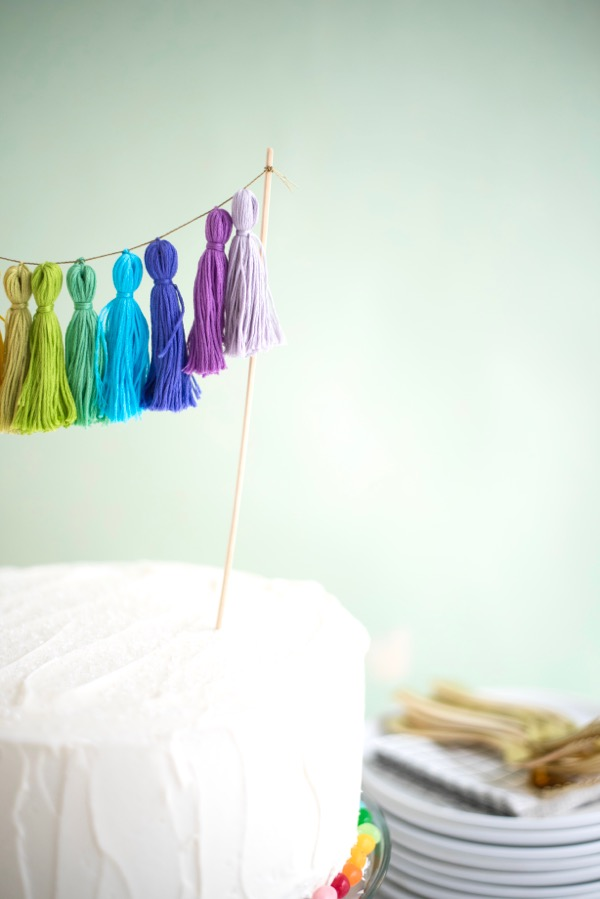Rainbow Mini Tassel Cake Topper | Oh Happy Day!