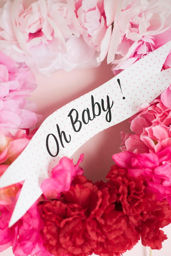Floral Wreath Baby Shower Cake Topper | Oh Happy Day!