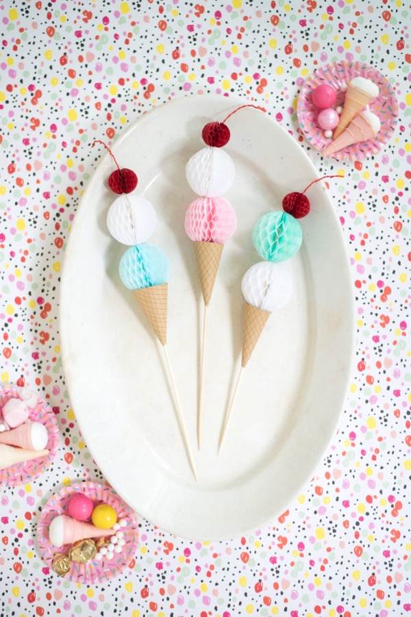 Honeycomb Ice Cream Cone Cake Topper | Oh Happy Day!