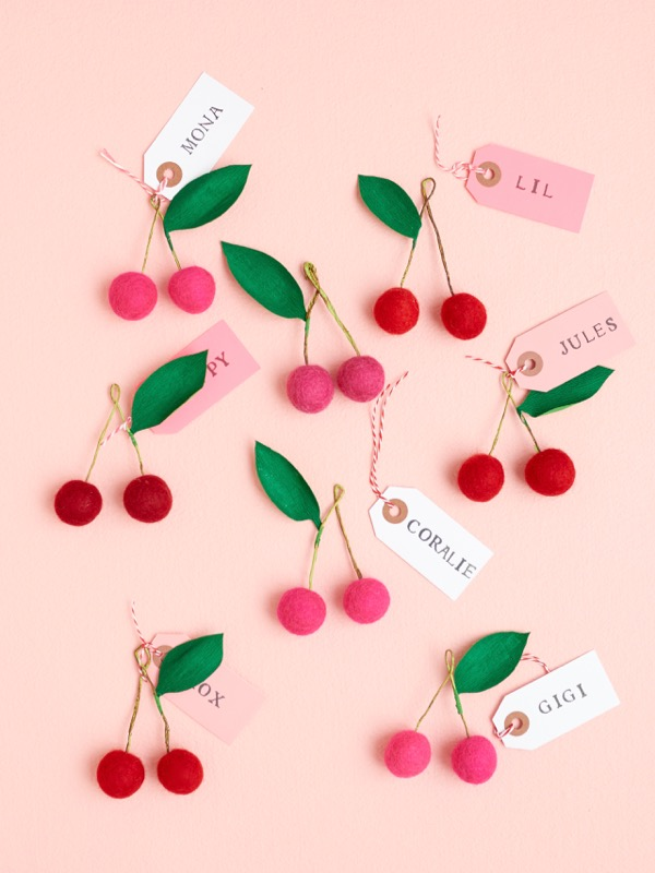 Felt Ball Cherry Place Card, Gift Topper, and Favor DIY | Oh Happy Day!