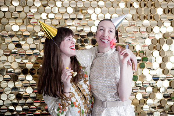 Two woman portrait in Gold Sequins Backdrop | DIY Photo Booth Ideas For Your Next Shindig